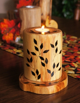"Hand wood-burned ""boutique"" candle"
