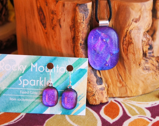 For Purple Lovers! Purple/Blue fused glass pendant with matching earrings