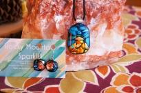 Rocky Mountain glow...a landscape glass jewelry set