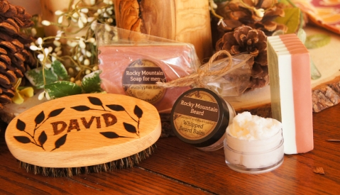 This beard pack includes a hand wood-burned brush, very special gift!