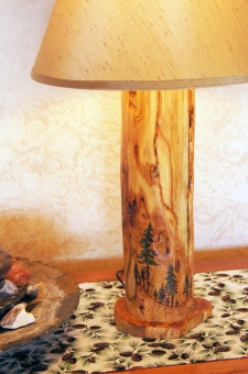 Custom wood-burning can be added to further enhance the lamps