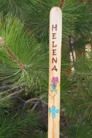 Hand wood-burned personalized hiking sticks